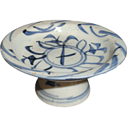 Chinese Blue & White Late Ming Early Qing Dynasty High Foot Dish