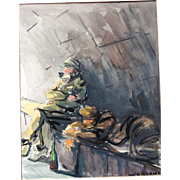 Abstract Watercolor of Fishermen Signed by Artist Jose Jordana - Spain