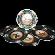 """Z.S. & Co Bavaria Zeh Scherzer & Co Royal Vienna Bird Plates SET 9"""" circa 1880"""