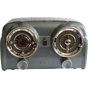 Repaired/Refurbished 1953 Crosley Tube Clock Radio Model DB-25 BE (Blue) with Bluetooth receiver and cable included