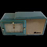 Repaired/Refurbished 1957 Bulova Tube Clock Radio Model 100 (Blue)
