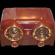 Repaired/Refurbished 1953 Crosley Clock Radio Model DB-25MN (Maroon)