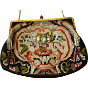 Tapestry handbag with a decorative brooch 1940's.
