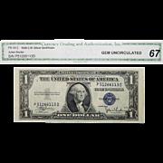 1935C Cga Gem Uncirculated 67 $1 Silver Certificate Fr. 1612