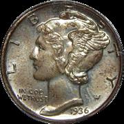 1936 Pcgs PR65 Mercury Dime