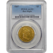 1807 Pcgs AU53 $5 Draped Bust Gold - Bust Right