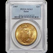 1907 Pcgs MS63 $20 Saint Gauden