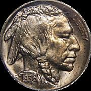 1936 Pcgs PR64 Type-1 Satin Buffalo Nickel