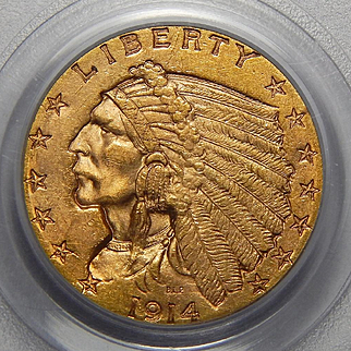 1914 Pcgs MS63 $2.50 Indian Gold