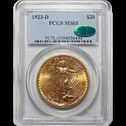 1923-D Pcgs/Cac MS65 $20 Saint Gaudens