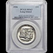 1936 Pcgs MS63 Long Island Half Dollar Commemorative