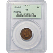 1909-S Pcgs F15BN Indian Head Cent