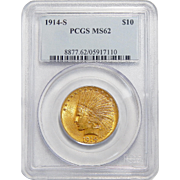 1914-S Pcgs MS62 $10 Indian Gold