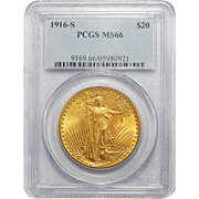 1916-S Pcgs MS66 $20 St. Gaudens Gold