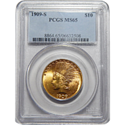 1909-S Pcgs MS65 $10 Indian Gold
