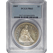 1869 Pcgs PR63 Liberty Seated Dollar