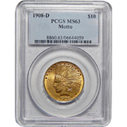 1908-D Pcgs MS63 $10 Motto Indian Gold