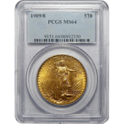 1909/8 Pcgs MS64 $20 St. Gaudens Gold