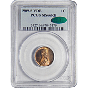 1909-S VDB Pcgs/Cac MS66RB Lincoln Wheat Cent