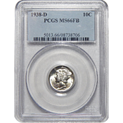 1938-D Pcgs MS66FB Mercury Dime
