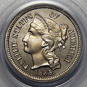 1885 Pcgs PR65 Three-Cent Copper Nickel