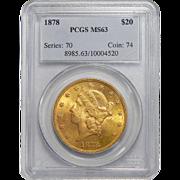 1878 Pcgs MS63 $20 Liberty Head Gold