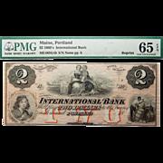 1860's PMG 65 EPQ $2 Maine, Portland Obsolete Banknote