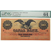 PMG 64 $10 Louisiana, New Orleans Obsolete Banknote