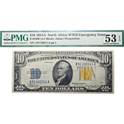 1934A PMG 53 EPQ (AA BLOCK) Fr.2309 North Africa WWII Emergency Issue $10 Silver Certificate