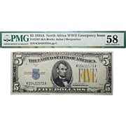 1934A PMG 58 (KA BLOCK) Fr.2307 North Africa WWII Emergency Issue $5 Silver Certificate