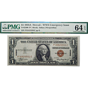 1935A PMG 64EPQ (PC BLOCK)  Fr. 2300 Hawaii WWII Emergency Issue $1 Silver Certificate