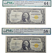Set of 2 Consecutive 1935A PMG 64/58 EPQ North Africa WWII Emergency Issue (CC BLOCK) Fr#2306 $1 Silver Certificates