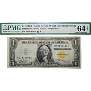 1935A PMG 64EPQ (RC BLOCK) North Africa WWII Emergency Issue $1 Silver Certificate Fr. 2306