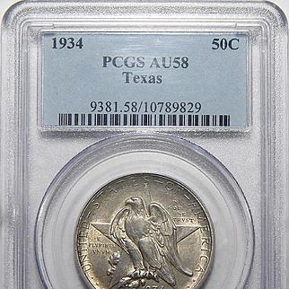 1934 Pcgs AU58 Texas Half Dollar