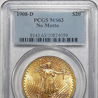 1908-D Pcgs MS63 No Motto $20 Saint Gaudens