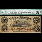 1857 PMG 67 EPQ $2 Nebraska, Omaha City Obsolete Banknote