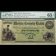 1858-60's PMG 65 EPQ $20 New Jersey, Morristown Obsolete Banknote