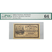 1900's 25 Cent Indian Territory, McAlester Obsolete Trade Note PMG 64