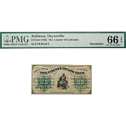 1866 PMG 66 EPQ 25 Cent Alabama, Hayneville Obsolete Bank Note