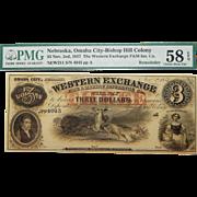 1857 PMG 58 EPQ $3 Nebraska, Omaha City Obsolete Banknote