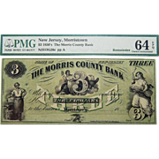 1850's PMG 64 EPQ $3 New Jersey, Morristown Obsolete Banknote