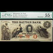 1850's PMG 55 EPQ $2 Minnesota, St. Paul Obsolete Banknote