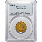1842-D Pcgs XF40 Small Date $5 Liberty Head Gold