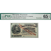 PMG 65 EPQ 5 Cent Wisconsin, Menomonie Obsolete Bank Note