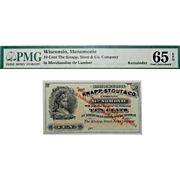 PMG 65 EPQ 10 Cent Wisconsin, Menomonie Obsolete Bank Note