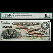 Pcgs 65 EPQ $5 Wisconsin, Menomonie Obsolete Banknote