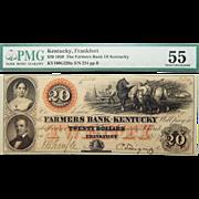 1859 PMG 55 $20 Kentucky, Frankfurt Obsolete Banknote