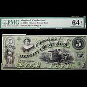 1860's PMG 64 EPQ $5 Maryland, Cumberland Obsolete Banknote