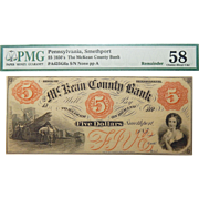 1850's PMG 58 $5 Pennsylvania, Smethport Obsolete Banknote