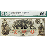 1860's PMG 66 EPQ $2 New Hampshire, Farmington Obsolete Banknote
